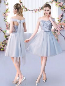 Gorgeous Sleeveless Tulle Knee Length Lace Up Dama Dress for Quinceanera in Grey with Lace and Belt