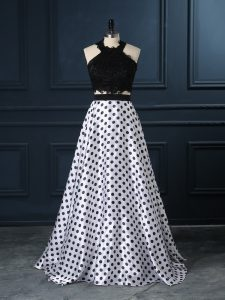 Glamorous White And Black Two Pieces Scoop Sleeveless Printed Zipper Lace Prom Evening Gown