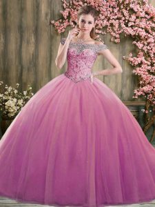 Super Lilac Lace Up Off The Shoulder Beading Quinceanera Dresses Tulle Sleeveless