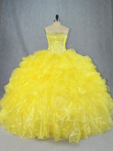 Best Selling Strapless Sleeveless Sweet 16 Dress Asymmetrical Beading and Ruffles Yellow Organza