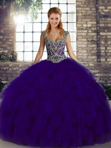 Purple Lace Up Quince Ball Gowns Beading and Ruffles Sleeveless Floor Length