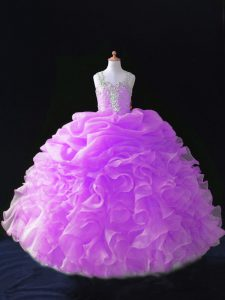 Lilac Sleeveless Beading and Ruffles and Pick Ups Floor Length Little Girl Pageant Gowns