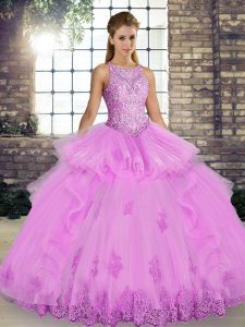 Dynamic Tulle Scoop Sleeveless Lace Up Lace and Embroidery and Ruffles Quince Ball Gowns in Lilac