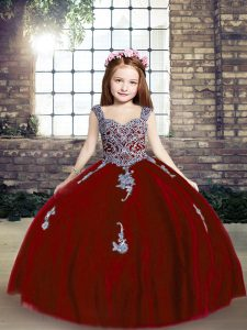 Red Pageant Gowns For Girls Party and Wedding Party with Appliques Straps Sleeveless Lace Up