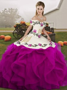 Sleeveless Tulle Floor Length Lace Up 15 Quinceanera Dress in White And Purple with Embroidery and Ruffles