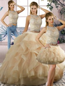 Floor Length Two Pieces Sleeveless Champagne Ball Gown Prom Dress Zipper