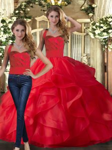 Chic Floor Length Two Pieces Sleeveless Red Quinceanera Gown Lace Up