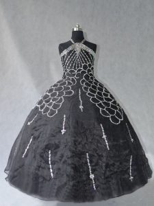 Ball Gowns Quinceanera Dress Black Halter Top Organza Sleeveless Floor Length Lace Up