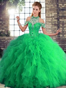 Green Ball Gowns Halter Top Sleeveless Tulle Floor Length Lace Up Beading and Ruffles Quinceanera Dress