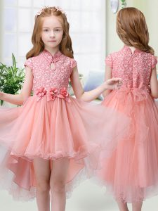 High-neck Cap Sleeves Organza Pageant Gowns For Girls Lace and Hand Made Flower Zipper