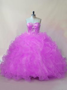 Graceful Beading and Ruffles 15th Birthday Dress Lilac Lace Up Sleeveless Floor Length