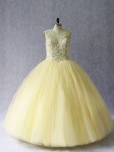 Deluxe Light Yellow Lace Up Scoop Beading 15 Quinceanera Dress Tulle Sleeveless
