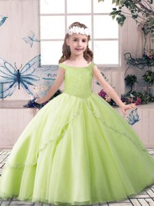 Dramatic Floor Length Yellow Green and Pink And White Kids Formal Wear Off The Shoulder Sleeveless Lace Up