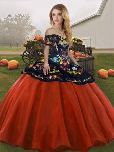 Sleeveless Tulle Floor Length Lace Up Juniors Party Dress in Rust Red with Embroidery