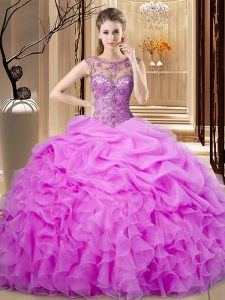 Excellent Lilac Sleeveless Beading and Pick Ups Floor Length 15 Quinceanera Dress