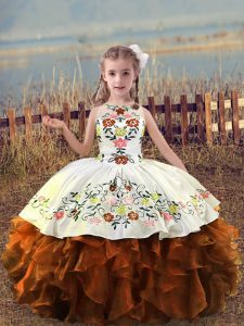 Amazing Rust Red Lace Up Scoop Embroidery and Ruffles Girls Pageant Dresses Organza Sleeveless