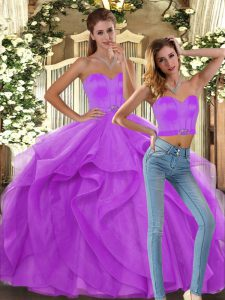 Unique Lilac Ball Gowns Tulle Sweetheart Sleeveless Ruffles Floor Length Lace Up Party Dresses