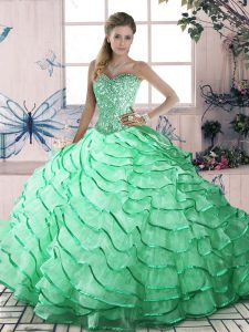 Nice Sleeveless Brush Train Ruffled Layers Lace Up Sweet 16 Dresses