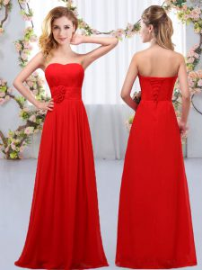 Sweetheart Sleeveless Chiffon Court Dresses for Sweet 16 Hand Made Flower Lace Up