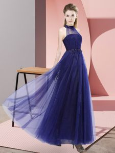 Perfect Purple Tulle Lace Up Dama Dress Sleeveless Floor Length Beading and Appliques