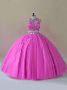 Delicate Floor Length Lilac Sweet 16 Quinceanera Dress Halter Top Sleeveless Backless