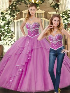 Lilac Ball Gowns Tulle Sweetheart Sleeveless Beading Floor Length Lace Up Sweet 16 Quinceanera Dress