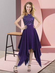 Purple Prom Dress Prom and Party with Beading and Sequins High-neck Sleeveless Zipper