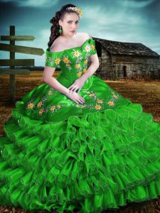Admirable Sleeveless Floor Length Embroidery and Ruffles Lace Up Sweet 16 Quinceanera Dress with Green