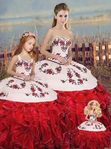 Delicate White And Red Lace Up Vestidos de Quinceanera Embroidery and Ruffles and Bowknot Sleeveless Floor Length