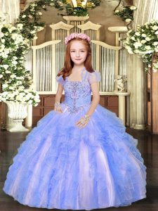 Floor Length Blue And White Kids Pageant Dress Tulle Sleeveless Beading and Ruffles