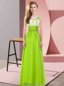 Yellow Green Empire Appliques Quinceanera Court Dresses Backless Chiffon Sleeveless Floor Length