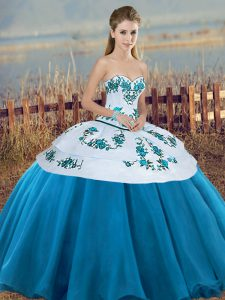 Romantic Floor Length Ball Gowns Sleeveless Blue And White Quinceanera Dress Lace Up