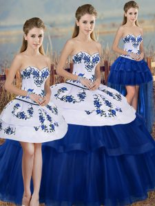 Affordable Royal Blue Quinceanera Gown Military Ball and Sweet 16 and Quinceanera with Embroidery and Bowknot Sweetheart Sleeveless Lace Up