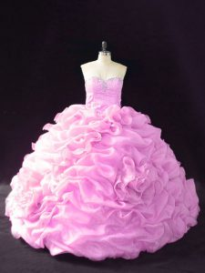 Romantic Organza Sleeveless Vestidos de Quinceanera Court Train and Beading and Pick Ups and Hand Made Flower
