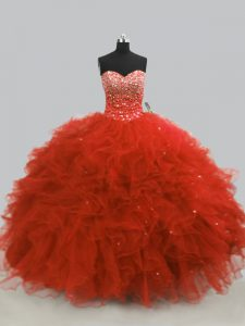 New Style Beading and Ruffles 15 Quinceanera Dress Rust Red Lace Up Sleeveless Floor Length