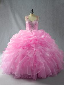 Baby Pink Ball Gowns Organza Straps Sleeveless Beading and Ruffles and Pick Ups Floor Length Zipper Sweet 16 Quinceanera Dress
