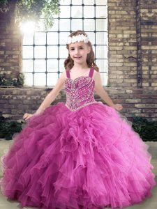 Trendy Lilac Straps Neckline Beading Little Girls Pageant Dress Wholesale Sleeveless Zipper