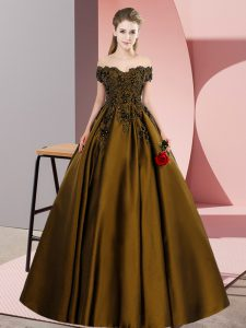Noble Brown Satin Zipper Quinceanera Dresses Sleeveless Floor Length Lace
