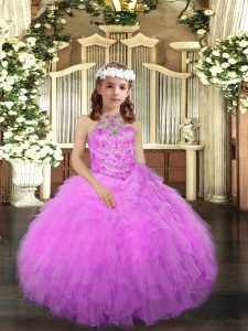 Dazzling Halter Top Sleeveless Tulle Girls Pageant Dresses Beading and Ruffles Lace Up