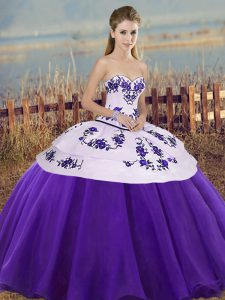 Suitable White And Purple Tulle Lace Up Sweetheart Sleeveless Floor Length Vestidos de Quinceanera Embroidery and Bowknot
