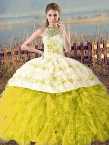 Yellow Green and Yellow Lace Up Halter Top Embroidery and Ruffles Quinceanera Dress Organza Sleeveless Court Train