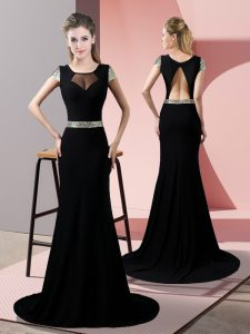 Vintage Short Sleeves Satin Sweep Train Backless Homecoming Dress in Black with Sequins