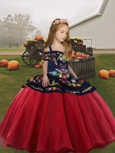 Customized Floor Length Ball Gowns Sleeveless Coral Red Pageant Dress for Womens Lace Up