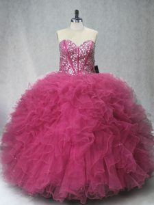 Modern Lilac Ball Gowns Tulle Sweetheart Sleeveless Beading and Ruffles Floor Length Lace Up 15th Birthday Dress
