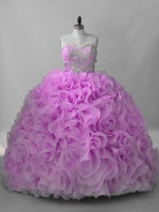 Ball Gowns Sleeveless Lilac Quinceanera Gowns Brush Train Lace Up