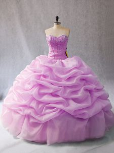 Adorable Lilac Sleeveless Pick Ups Floor Length Quinceanera Dresses