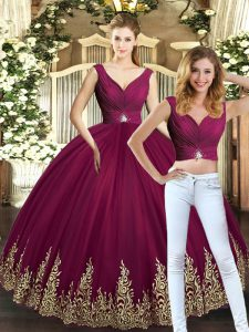 Discount Two Pieces Quinceanera Gown Burgundy V-neck Tulle Sleeveless Floor Length Backless