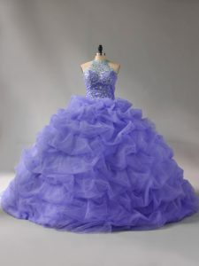 Sleeveless Organza Court Train Lace Up Quinceanera Dresses in Lavender with Beading and Pick Ups