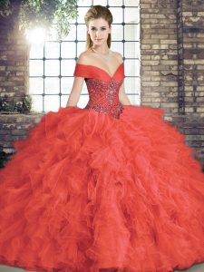 Low Price Beading and Ruffles Sweet 16 Dresses Coral Red Lace Up Sleeveless Floor Length