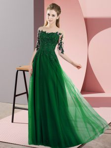 Dark Green Empire Chiffon Bateau Half Sleeves Beading and Lace Floor Length Lace Up Dama Dress